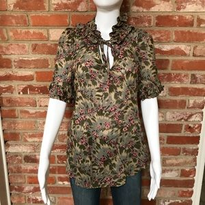 Anthropologie Odille tie neck floral blouse